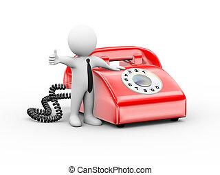 téléphone, 3d, homme, rotatif, pouce haut