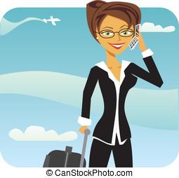téléphone, aéroport, affaires femme, conversation