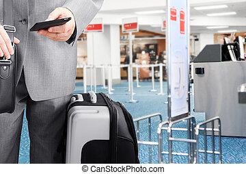 téléphone, aéroport, homme affaires, voyager, appeler