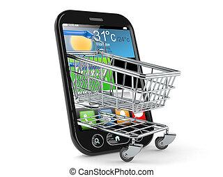 téléphone, achats, intelligent, charrette