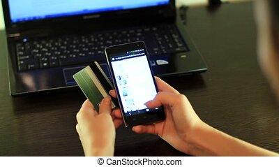 téléphone, achats, intelligent, ligne