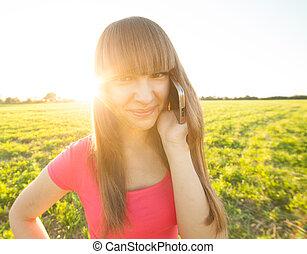 téléphone, adolescent, dehors, girl, conversation