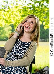 téléphone, adolescent, rire, girl, conversation