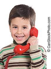 téléphone, adorable, enfant