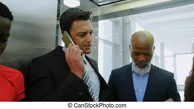 téléphone affaires, gens, ascenseur, conversation, 4k