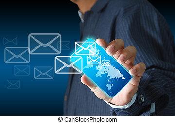 téléphone affaires, mobile, écran, main, boutons, e-mail, toucher, prise