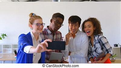 téléphone, affaires mobiles, collègues, multi-ethnique, 4k,...