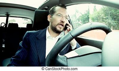téléphone, agent affaires fâché