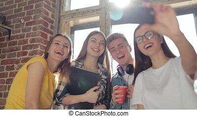 téléphone, amis, vidéo, confection, leur