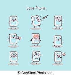 téléphone, amour, dessin animé, intelligent
