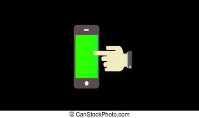 téléphone, animé, doigt, intelligent, point