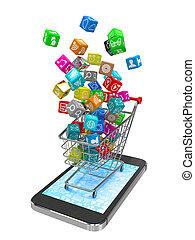 téléphone, app, icône, intelligent, automne