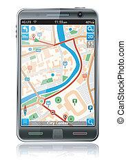 téléphone, app, navigation, intelligent, gps