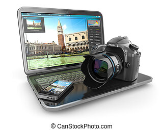 téléphone., appareil photo, voyageur, journaliste photo, ordinateur portable, ou, mobile
