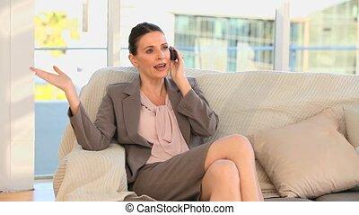 téléphone, appel affaires, femme, prendre