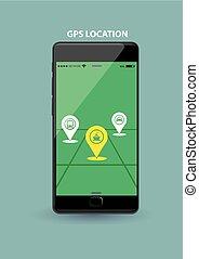 téléphone, application, noir, nouveau, intelligent, gps