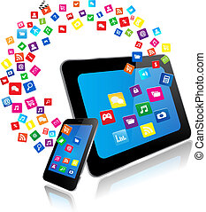 téléphone, apps, intelligent, pc tablette