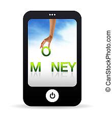 téléphone, argent, mobile
