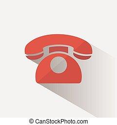 téléphone, arrière-plan beige, ombre, rouges, icône