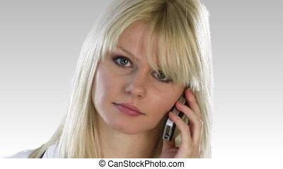téléphone, atractive, blond, femme