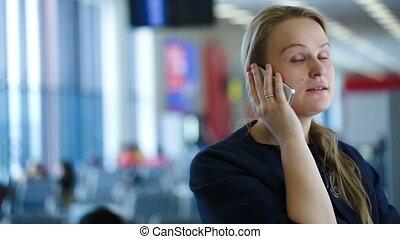 téléphone, attente, femme, salle, conversation