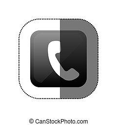 téléphone, autocollant, carrée, noir, icône