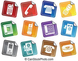 téléphone, autocollant, icônes