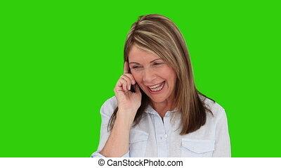 téléphone, avoir, appeler, femme âgée