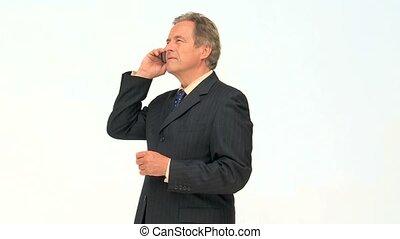 téléphone, avoir, appeler, homme affaires, personnes agées