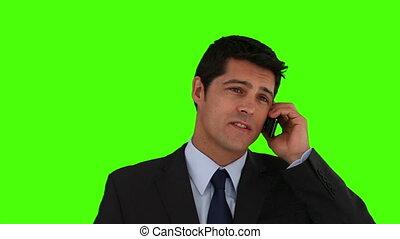 téléphone, avoir, appeler, jeune, homme affaires