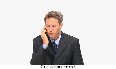 téléphone, avoir, conflit, homme affaires