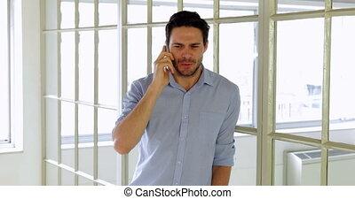 téléphone, avoir, désinvolte, appeler, homme