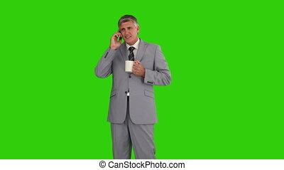 téléphone, avoir, tasse, appeler, homme affaires, thé