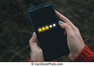 téléphone, banner., donner, revue, utilisateur, sien, numérique, réaction, étoiles, concept, augmentation, feedback., classement