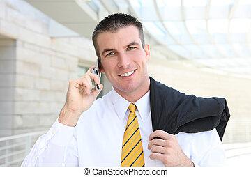 téléphone, beau, homme affaires