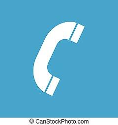 téléphone, blanc, icône