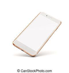 téléphone, blanc, intelligent, fond, 3d