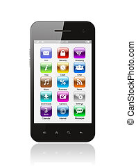 téléphone, blanc, intelligent, fond, icônes