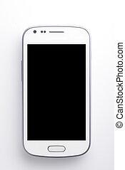 téléphone, blanc, intelligent