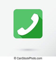 téléphone, blanc, isolé, fond, icône