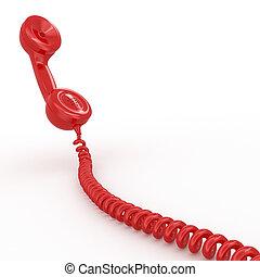 téléphone, blanc, isolé, fond, reciever