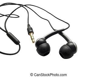 téléphone, blanc, isolé, oreilles