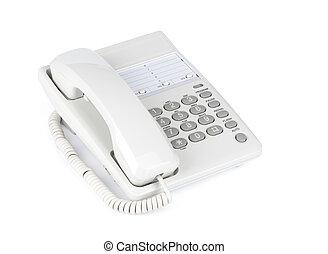 téléphone, blanc, isolé