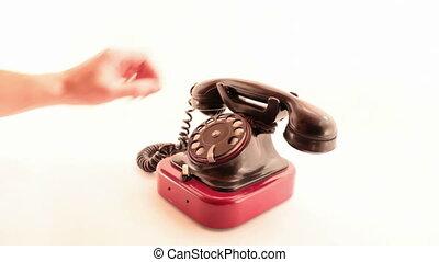 téléphone, blanc, retro, sonner