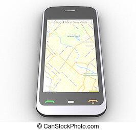 téléphone, blanc, tridimensionnel, fond