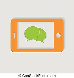 téléphone, blanc, vecteur, fond, jaune