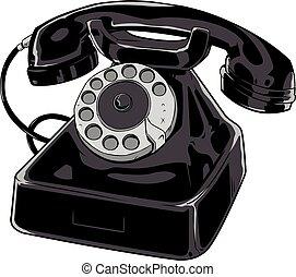 téléphone, blanc, vieux