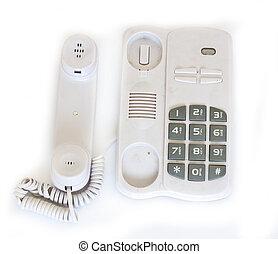 téléphone, blanc, vieux, fond