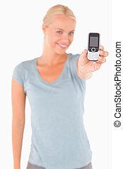 téléphone, blonds, projection, femme souriante