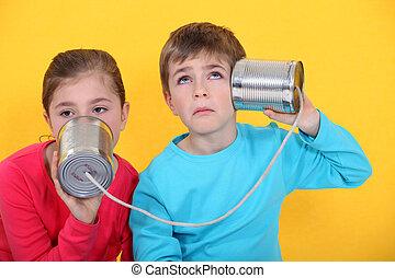 téléphone, boîte en fer-blanc, enfants